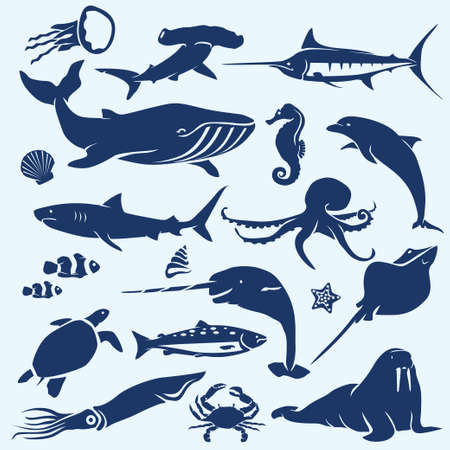 Illustration pour sealife, sea and ocean animals and fish silhouettes collection - image libre de droit