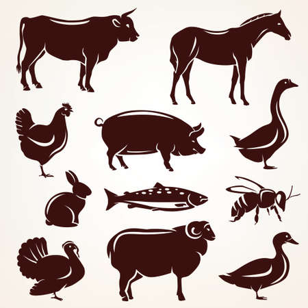 Photo pour farm animals silhouette collection - image libre de droit