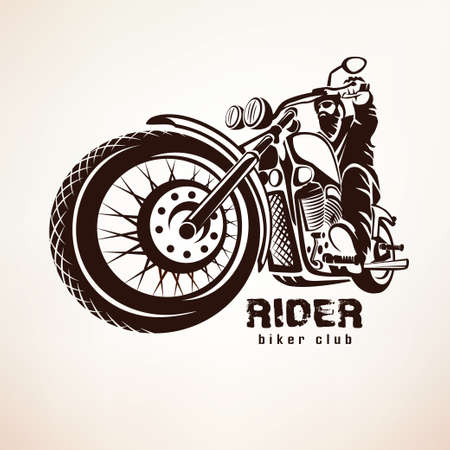 biker, motorcycle grunge vector silhouette, retro emblem and label