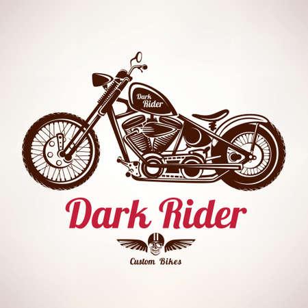 Illustration pour motorcycle grunge vector silhouette, retro emblem and label - image libre de droit