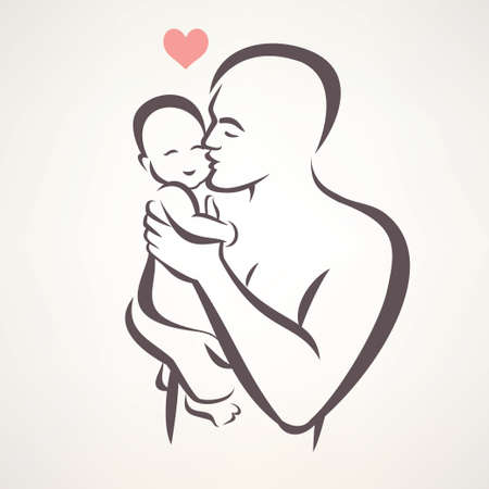 Illustration pour father and baby isolated vector symbol - image libre de droit
