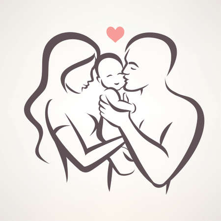 Illustration pour happy family stylized vector symbol, young parents and baby - image libre de droit