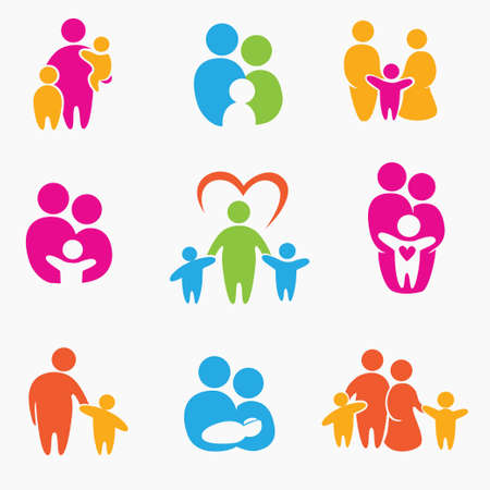 Illustration pour happy family icons, symbols collection - image libre de droit