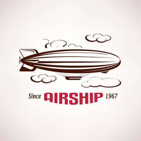Illustration pour retro airship emblem template - image libre de droit