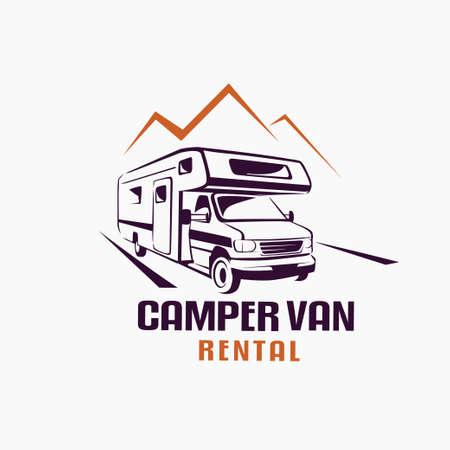 Illustration pour camper van outlined sketch, emblem and label tmplate - image libre de droit