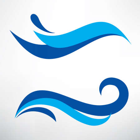 Ilustración de water wave set of stylized vector symbols, design elements for template - Imagen libre de derechos