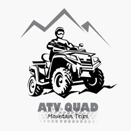 Illustration pour atv, quad bike stylized silhouette vector symbol, design element for emblem - image libre de droit