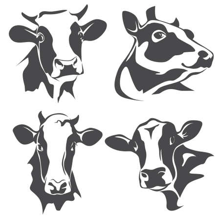 Illustration pour cow head portrait, set of stylized vector symbols - image libre de droit