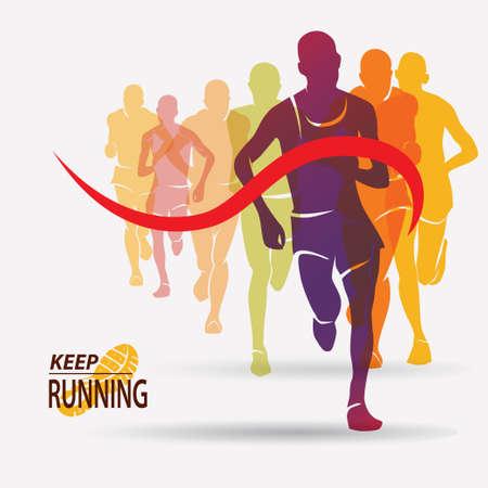 Ilustración de running people set of silhouettes, competition and finish - Imagen libre de derechos