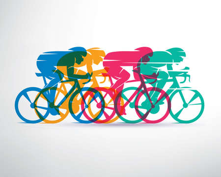 Illustrazione per cycling race stylized background, cyclist vector silhouettes - Immagini Royalty Free