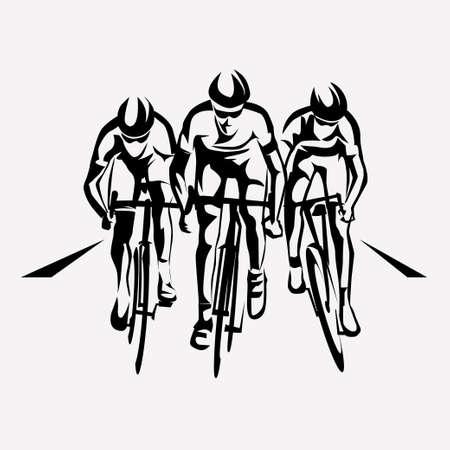 Illustration pour cycling race stylized symbol, outlined cyclist vector silhouettes - image libre de droit