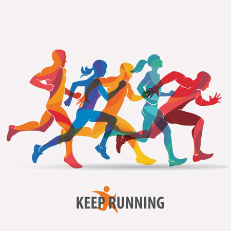 Illustrazione per running people set of silhouettes, sport and activity  background - Immagini Royalty Free