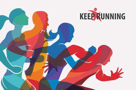 Ilustración de running people set of silhouettes, sport and activity  background - Imagen libre de derechos