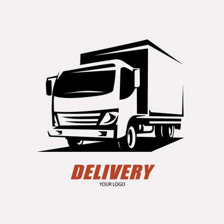 Illustration pour delivery and shipping service logo template, minivan stylized symbol - image libre de droit