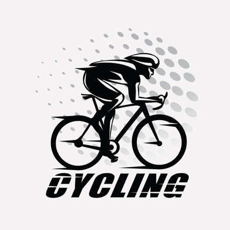Illustrazione per cycling race stylized symbol, outlined cyclist vector silhouette - Immagini Royalty Free