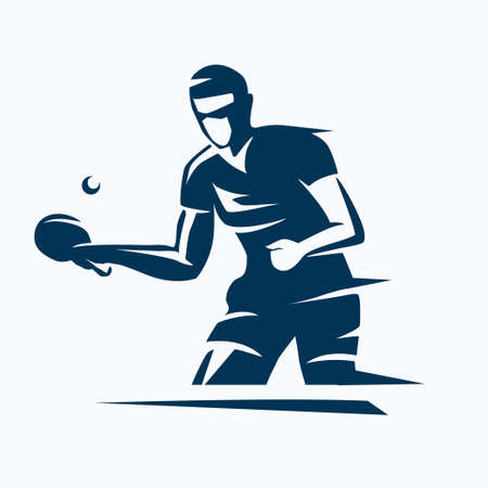 Ilustración de table tennis player stylized vector silhouette, ping pong logo template - Imagen libre de derechos