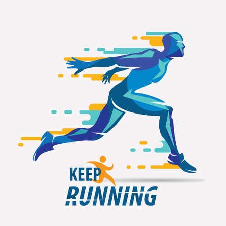 Ilustración de running man vector symbol, sport and competition concept background - Imagen libre de derechos