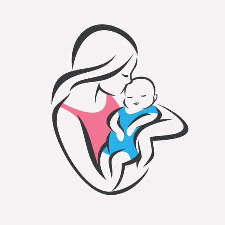 Illustration pour mother and baby stylized vector symbol, mom kiss her child logo template - image libre de droit