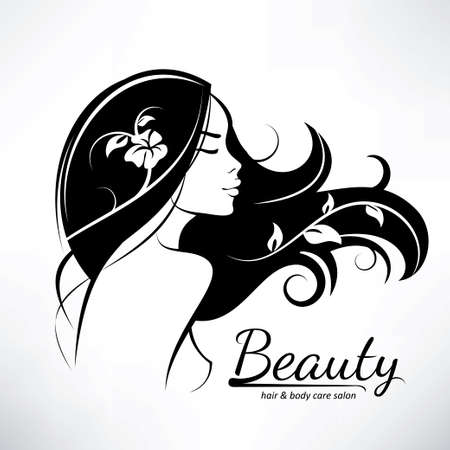 Illustration for womans hair style stylized sillhouette, beauty salon logo template - Royalty Free Image
