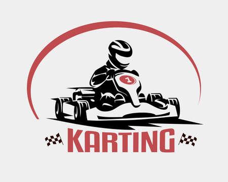 Ilustración de karting race vector symbol, logo or emblem template - Imagen libre de derechos