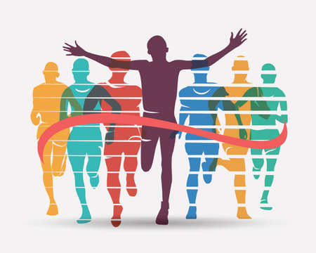 Illustrazione per Running athletes symbol, sport and competition concept - Immagini Royalty Free