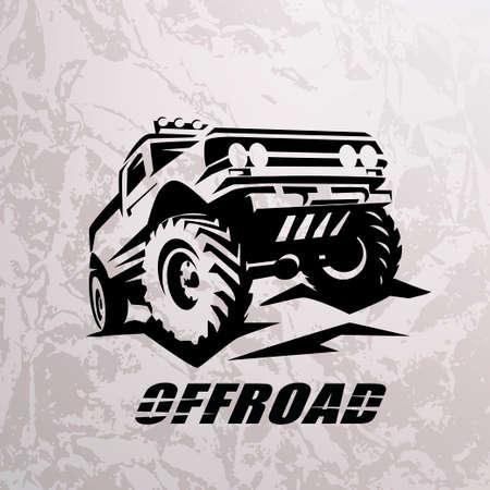 Illustration pour offroad suv car monochrome template for labels, emblems, badges or logos - image libre de droit