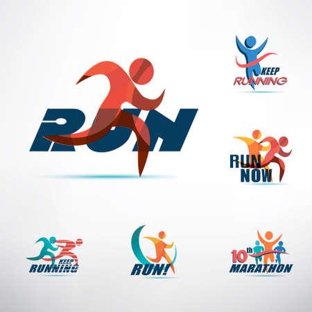 Ilustración de running people logo template, stylized symbols collection, sport and activity concept - Imagen libre de derechos