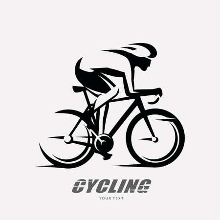 Illustration pour cycling race stylized symbol, outlined cyclist vector silhouette - image libre de droit