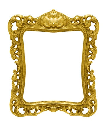 An ornate gold picture frame silhouetted against a white background