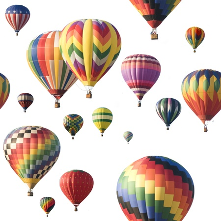 Photo for A group of colorful hot-air balloons floating against a white background. Image is seamlessly tileable. - Royalty Free Image