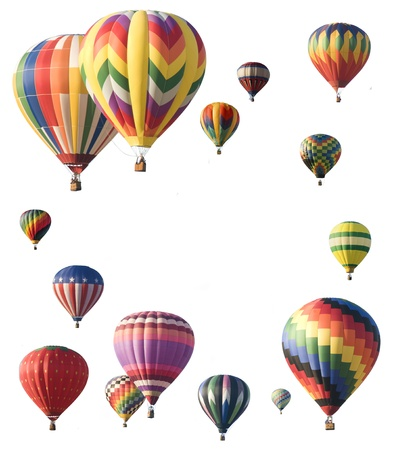 Photo for Hot-air balloons arranged around edge of frame allowing space for text in the center of white background - Royalty Free Image