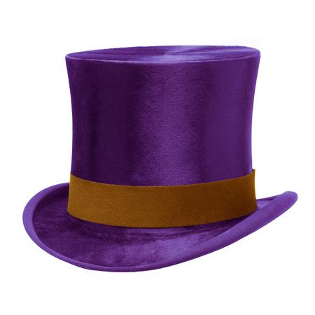 Foto de Purple Top Hat with brown band, isolated against white  - Imagen libre de derechos