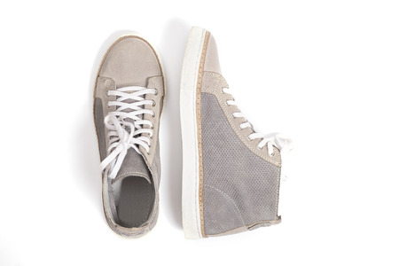 Photo pour new gray sneakers isolated on white background. - image libre de droit