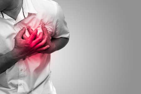 Foto de Man having chest pain - heart attack black and white tone, hearth care and medicine concept - Imagen libre de derechos