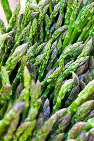 Bunch of organic green asparagus at market