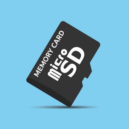 Illustrazione per Memory  Micro SD card vector on blue background - Immagini Royalty Free