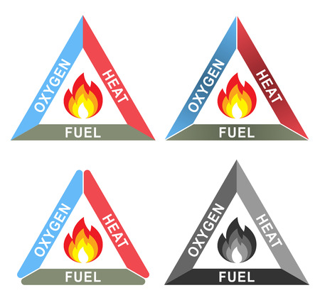 Illustration for Fire Triangle or Combustion Triangle: Oxygen, Heat and Fuel - Royalty Free Image