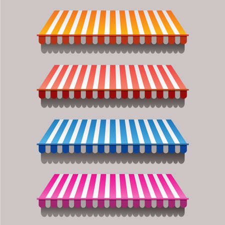Ilustración de Set of striped awnings for shop and marketplace - Imagen libre de derechos