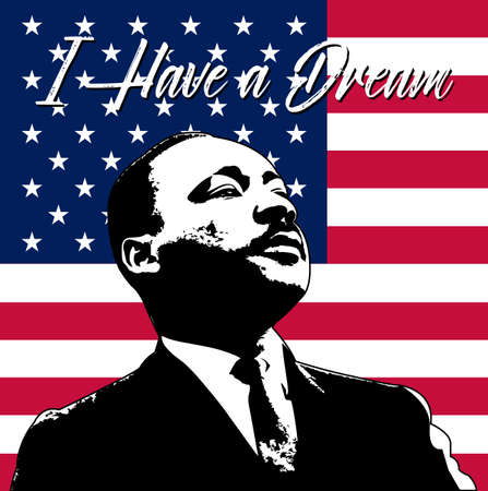 Illustration pour Martin Luther King Day background.Illustration of Martin Luther King, to celebrate MLK day. - image libre de droit