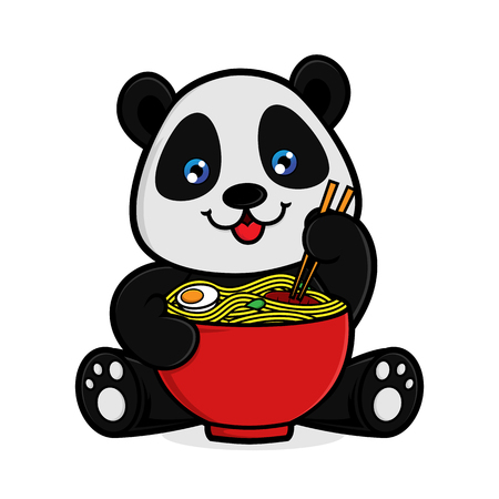 Illustration pour Panda eat noodle isolated in white background - image libre de droit