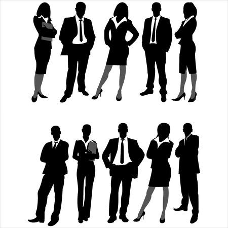 Illustrazione per silhouettes of business men and women on white background - Immagini Royalty Free