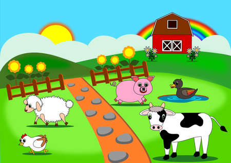 Animals farm cartoon vector
