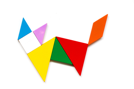 Photo for Color wood tangram puzzle in cat shape on white background - Royalty Free Image