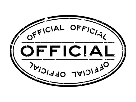 Illustration for Grunge black official word oval rubber seal stamp on white background - Royalty Free Image