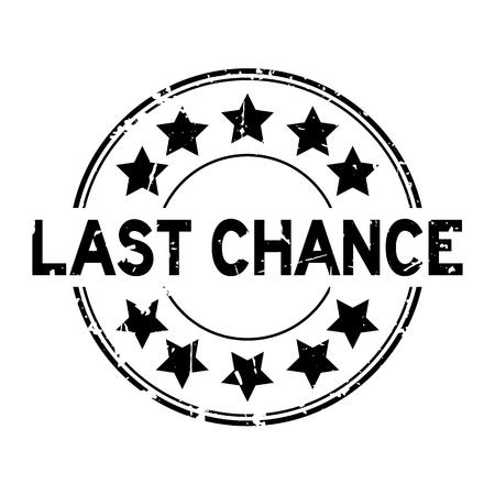 Ilustración de Grunge black last chance word with star icon round rubber seal stamp on white background - Imagen libre de derechos