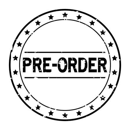 Ilustración de Grunge black pre order word with star icon round rubber seal stamp on white background - Imagen libre de derechos