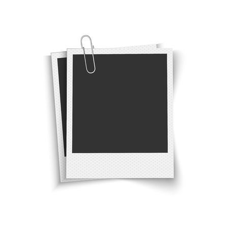 Illustration pour Blank photo frames with clip - image libre de droit