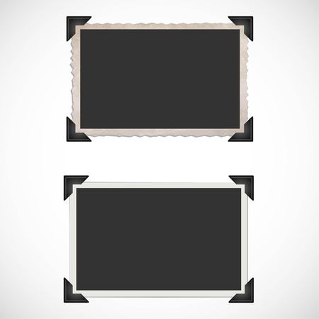 Illustration pour Blank Old Photo Frames and Corners - image libre de droit