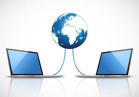 Illustration pour Laptops Connected to the Internet - image libre de droit