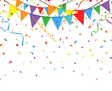 Illustration pour Party flags with confetti and streamer - image libre de droit